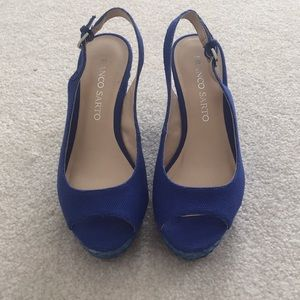 Franco Sarto Sapphire Canvas Wedges